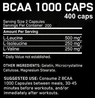 Optimum Nitrition BCAA Состав