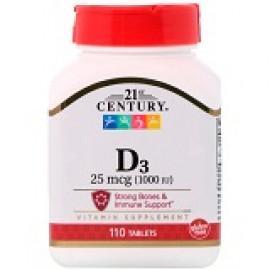 21st Century D3 25 мкг 1000 МЕ 110 таблеток