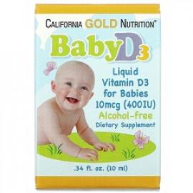 California Gold Nutrition витамин D3 в каплях для детей 400 МЕ 10 мл