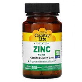 Country Life хелатный цинк 50 мг 100 таблеток
