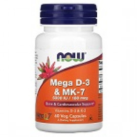 Now Foods Mega D-3 и MK-7 5000 МЕ / 180 мкг 60 вегетарианских капсул