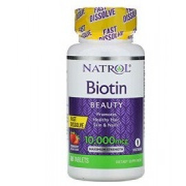 Natrol, Биотин со вкусом клубники 10000 мкг 60 таблеток