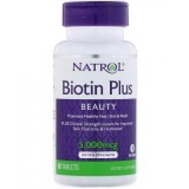 Natrol Biotin Plus повышенная эффективность 5000 мкг 60 таблеток