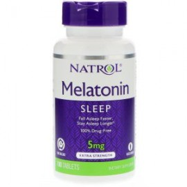 Natrol, Мелатонин быстрорастворимый клубника 5 мг 90 таблеток